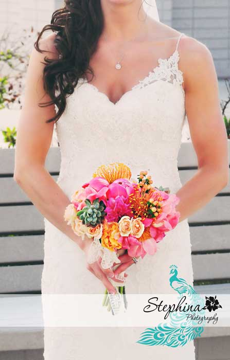 bride, wedding gown, bouquet, turquoise, pink, red, orange, flowers