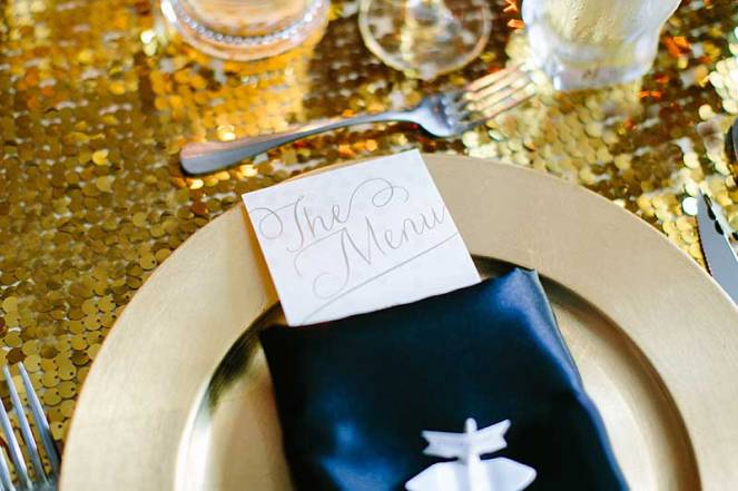 38-patricia-ivan-wedding-reception-gold-charger-plate-menu-napkin-gold-sequins
