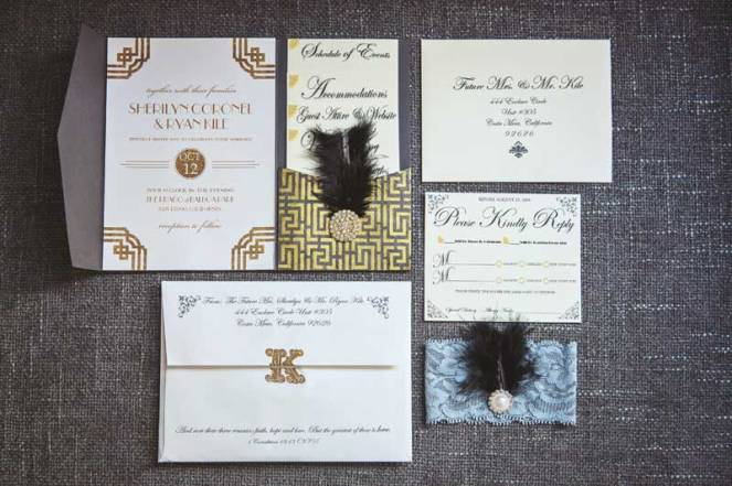 wedding at the prado balboa park roaring twenties great gatsby art deco, gray and gold, metallic, glitter, feather