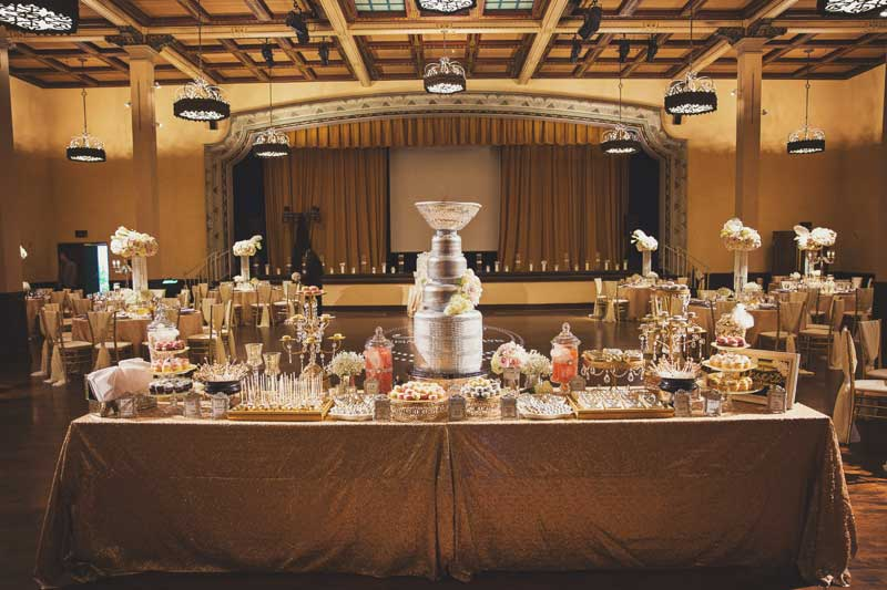 la dolce idea dessert table at the prado with gold and art deco roaring twenties dessert sweets candy gold black great gatsby