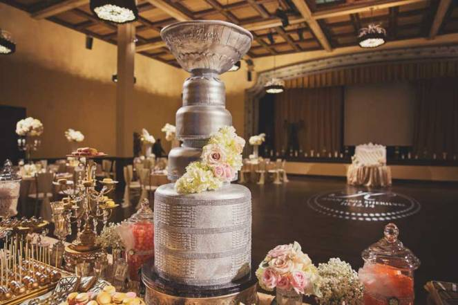 la dolce idea san diego cake dessert table stanley cup gold silver black metallic dessert table wedding at the prado