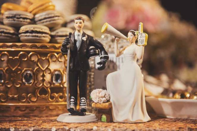 la dolce idea wedding planning san diego the prado wedding reception dessert table cake topper hockey stanley cup gold black roaring twenties great gatsby art deco