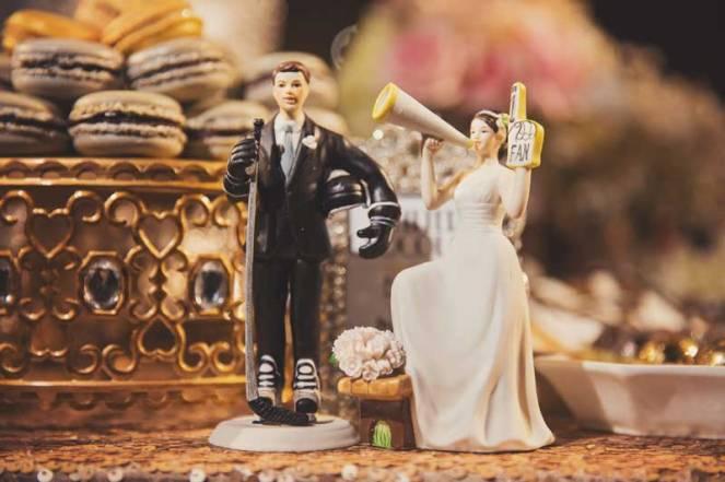 la dolce idea wedding planning san diego the prado wedding reception dessert table cake topper hockey stanley cup gold black roaring twenties great gatsby art deco