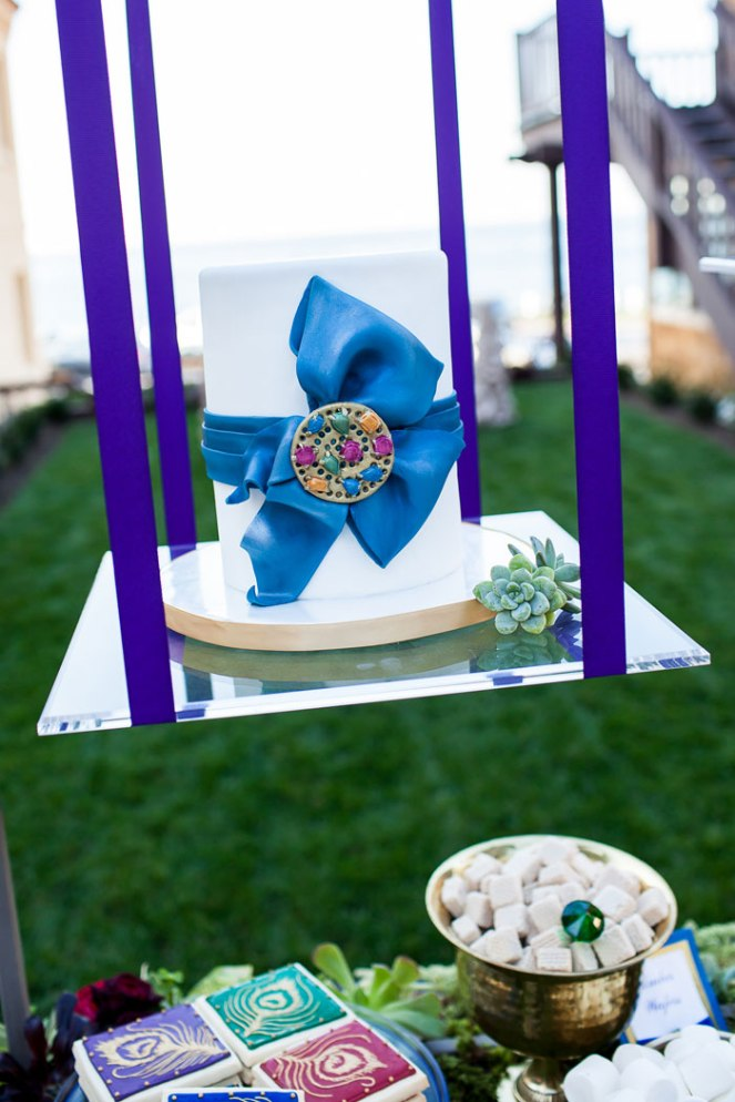 la dolce idea weddings soirees hanging cake ultra violet pantone color year 2018 design event photo shoot jewel tones pantai inn san diego la jolla event planning